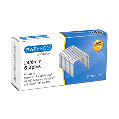 Rapesco Grapas - Caja de 5000 grapas 24/6mm (22/6), uso habitual en la mayoria de grapadoras, S24602Z3
