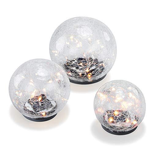 """Solar Leuchtkugel 3er-Set\""""Golden Balls\"""" - angenehm warmweißes Licht - traumhafte Lichteffekte dank Bruchglasoptik - Größen: 10, 12 & 15 cm - Solarlampe Gartenbeleuchtung Solarleuchte esotec 102088"""