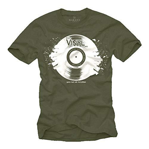 Camisetas Musica Hombre - Vintage Vinyl DJ - Verde XL