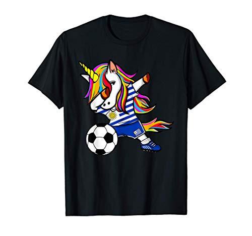 Unicornio Dabbing Unicorn Fútbol Uruguayo Bandera Uruguaya Camiseta