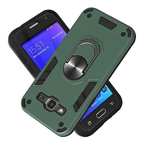 Armure Coque Samsung Galaxy J2 (2016)/J210, Boîtier PC + TPU Double Layer Housse résistant aux Chocs avec Support à Anneau Rotatif à 360 degrés (Vert