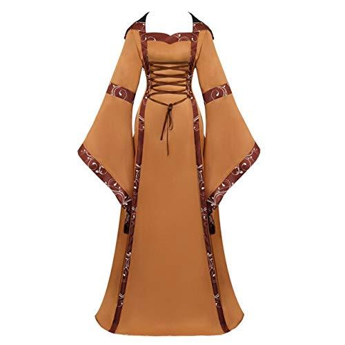 EQWR Mittelalterliche Vintage Frauen Mit Kapuze Kleid Renaissance Trompete Ärmel Bodenlangen Große Schaukel Kleider Kleid Kostüm S-2XL C80500AD XL Braun