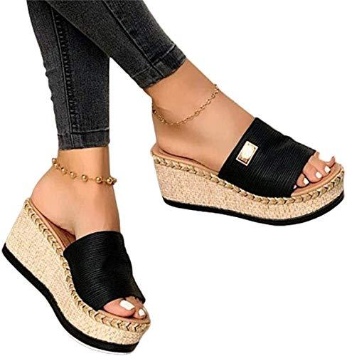 Minetom Damen Sandalen Casual Damen Sommer Wedge Peep Toe High Heel Plattform Pantoletten Flache Schuhe A Schwarz 39 EU