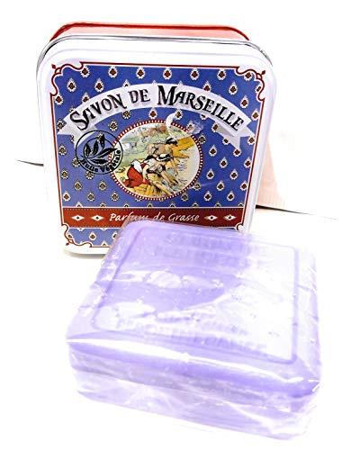 Coton Blanc Seife aus Marseille mit pflanzlichem Öl in Metalldose, Duft: Lavendel