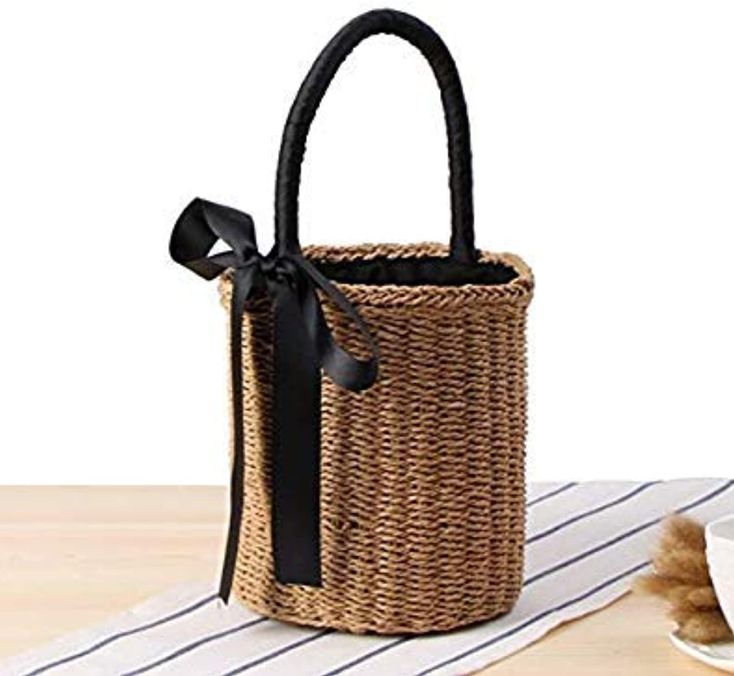 Bloomerang Japan Style Bucket Cylindrical Straw Bags Bow Wheat-Straw Woven Women Handbags Shoulder Tote Bag String color Brown