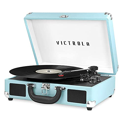 Victrola Vintage 3-Speed Bluetooth Portable Suitcase Record Player with Built-in Speakers | Upgraded Turntable Audio Sound| Includes Extra Stylus | Turquoise, Model Number: VSC-550BT