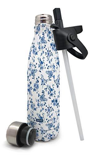 Nerthus Termo doble pared para frios y calientes Diseño Flores Azul de Acero Inoxidable con Tapon Pajita, 500 ml