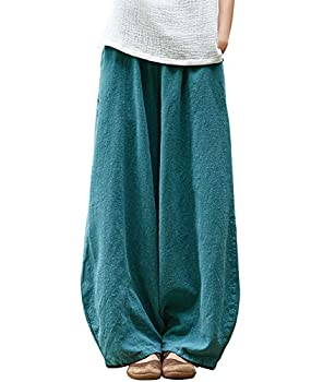IXIMO Women s Casual Cotton Linen Baggy Pants with Elastic Waist Relax Fit Lantern Trousers Blue XL