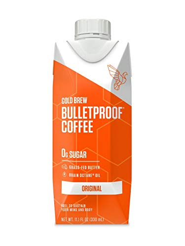Bulletproof Original Cold Brew Coffee, Keto Friendly with Brain Octane C8 MCT Oil and Grass Fed Butter, Sugar Free, Original, 12 Pack