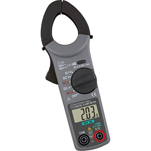 Kyoritsu Kew 203Pinza amperimétrica digital compacta para la tamaño de corriente AC/DC, tensioni AC/DC, resistencia, continuidad, Gris