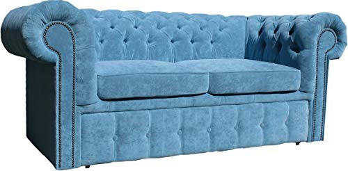 Casa Padrino Chesterfield 2er Sofa in Hell Blau 180 x 100 x H. 80 cm Chesterfield Schlafsofa