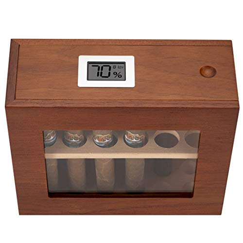 XIFEI humidor Cigar Display Box,Glass Window Handcrafted,Top Cover Digital Hygrometer, Dedicated...