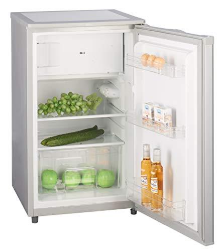 Kühlschrank mit Gefrierfach A++ (90 Liter) 4-Sterne-Gefrierfach, LED-Innenbeleuchtung, Abtauautomatik, Glasablagen, Gemüsefach, Türablagen, Silber