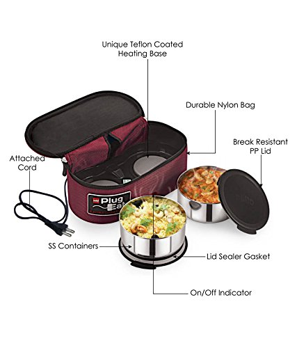 Cello Proton Electric Stainless Steel Lunch Box, 2-Pieces, Maroon