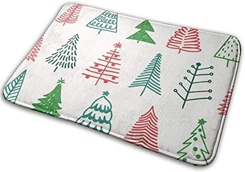 Bath Mat Christmas Tree Memory Foam Bath Mats Non Slip Soft Absorbent Bath Rugs Rubber Back Runner Mat for Kitchen Bathroom Floors White`A1