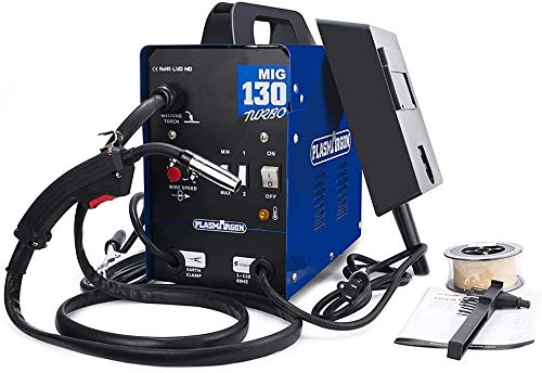 130A MIG Saldatore Gas e Gasless Saldatrice Flux Core Wire Alimentazione automatica No Gas Saldatore Macchina Blu (220V, 60HZ)