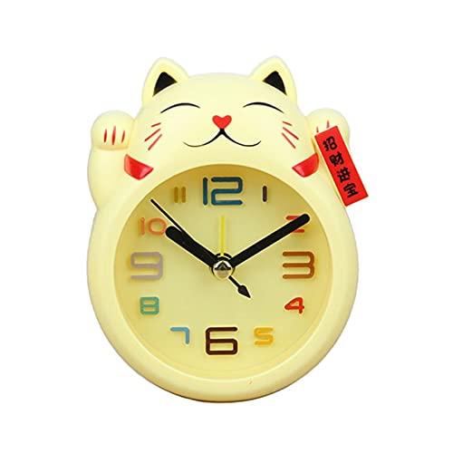 YGUIYONG Reloj Despertador Reloj Chino Lucky Cat Reloj Feng Shui Figura Reloj en Caja Color Colorida Reloj de Alarma para niños (Color : Yellow)
