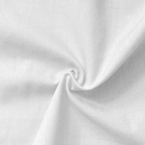 STOFFKONTOR Baumwolle Polyester wie Batist Stoff - Meterware, rein-Weiss - zum Nähen von Dirndl, Bettwäsche, Hemden, Blusen, Dekorationen UVM.