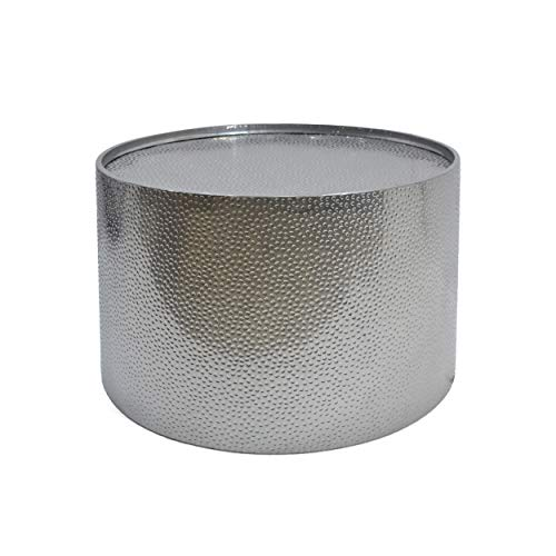 """Christopher Knight Home 308944 Rache Modern Round Coffee Table with Hammered Iron, Silver, 26. 00"""" L x 26. 00"""" W x 17. 00"""" H"""
