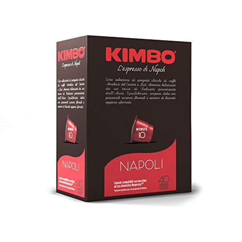 Kimbo Capsule Napoli Compatibili Nespresso, Intensità 10/13, Confezione da 4 x 40 Capsule (Totale 160 Capsule), (la confezione può variare)
