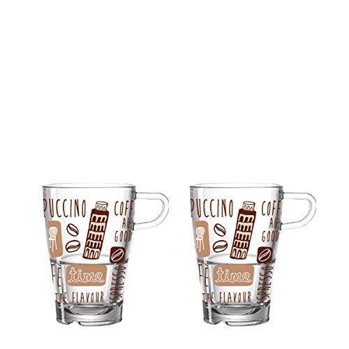 Leonardo La Vita Latte-Macchiato Tasse, Kaffee-Gläser mit Motiv, spülmaschinengeeignete Glas-Becher, 2er Set, 350 ml, 024022