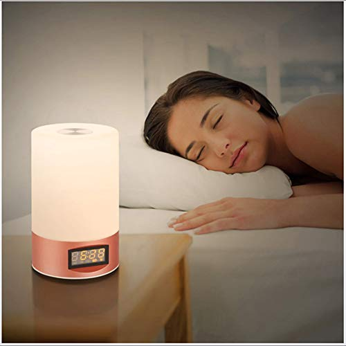 LED Wakker Licht 7 Kleuren Nachtlampje Zonsopgang/Zonsondergang Wekker Natuurgeluiden Aanraakbediening USB Powered for Bedroom Christmas Gift,Gold