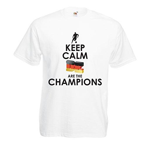 Camisetas Hombre Los alemanes Son los campeones - Campeonato de Rusia 2018, Copa Mundial de fútbol, Equipo de la Camiseta del Ventilador de Alemania (Medium Blanco Multicolor)