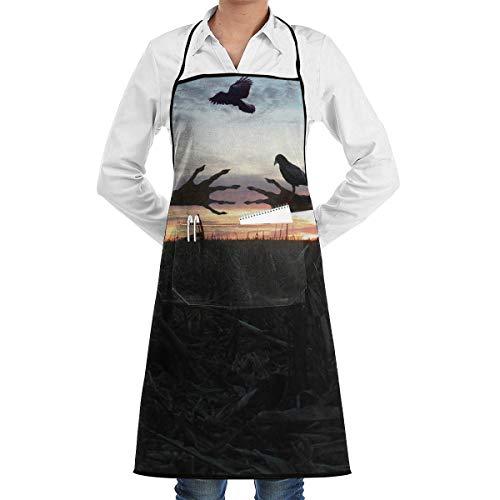 Grembiule da cucina Chef Grembiule Spaventapasseri Immagine Collo Vita Tasca centrale Tasca impermeabile-PU-MJR