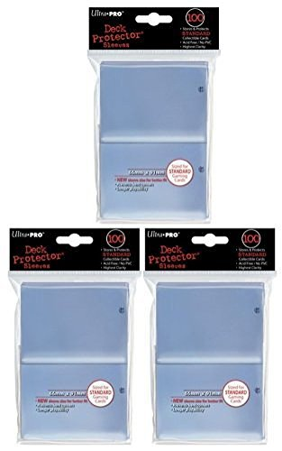 (300) Ultra Pro New Standard Size(66mm x 91mm) Clear Deck Protectors Sleeves! 3 Factory Sealed 100ct Packs (#82689) with Ultra Pro's Hologram Quality Seal of Durability! Stores and Protects Standard Size Gaming Cards including Magic the Gathering and Pokemon! Highest Clarity, Archive-Safe and Acid Free! No PVC! New Sleeve Size for Better Fit! Prevents Bent Corners for Longer Playability! Save Money Buying Multiple Packs Togerther!