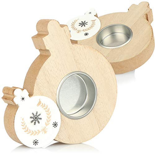com-four® 2X portacandele a Forma di Pallina per Albero di Natale - candelabri Decorativi in Legno...