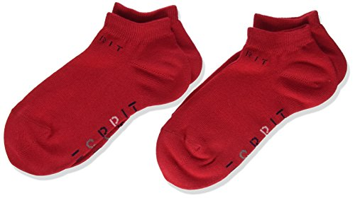 Esprit Unisex Kinder Foot Logo 2-Pack K SN Sneakersocken, Blickdicht, Rot (Fire 8150), 23-26 (2-3 Jahre)