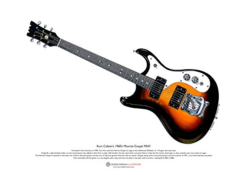 George Morgan Illustration Kurt Cobain's Mosrite Gospel Gitarre Kunst Poster A3-Format