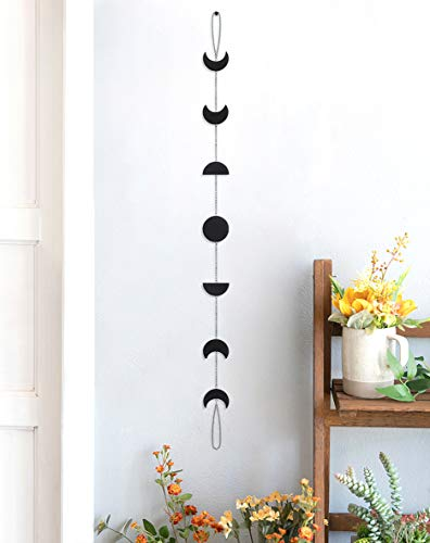 OCIOLI Moon Phases Garland Wall Hanging Moon Decor Wall Decorations with Metal Chains for Office Nursery Bedroom Window Decorative Wall Art Ornaments (Black)