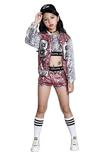 Girls Sequin Dance Costume 4 Pieces Set Kids Hip Hop Jazz Modern Dancing Outfits