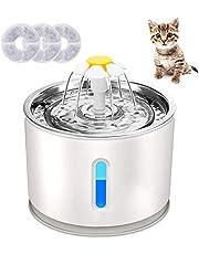 Plartree Fontanna do picia dla kotów, 2,4 l, Silent dozownik wody dla kotów z 3 filtrami węglowymi i okienkiem poziomu wody LED