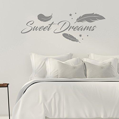 Sweet Dreams - Federn - Schlafzimmer - 45 cm x 120 cm - Wandtattoo - Grau