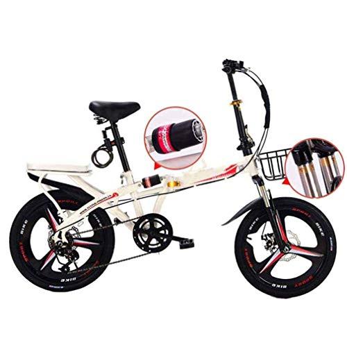 COUYY Bicicleta de Viaje, Bicicleta de montaña Plegable, Bicicleta de la Ciudad de aleación Unisex de 16 Pulgadas, Mango Ajustable y 6 velocidades, Freno de Disco,Blanco