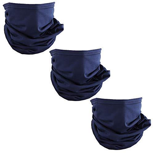 Solid Navy USA Made Cotton Neck Gaiter Face Mask Bandana Tube Scarf - Set of 3
