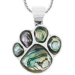 Abalone Dog or Cat Paw Necklace Pendant with Gemstones