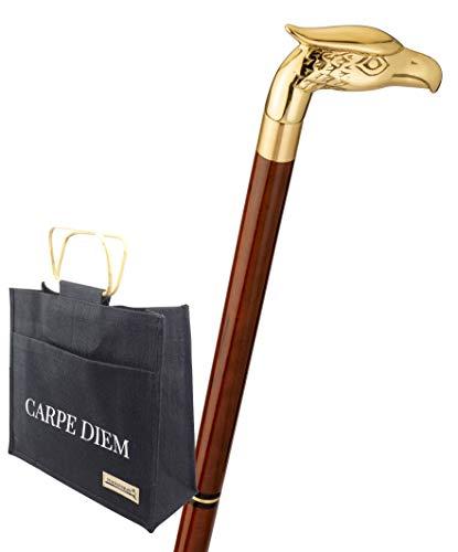 Bastón con bolsa de yute, bastón de viaje Eagle, cabeza de pájaro, águila, latón, palo de madera dura marrón, bastón de senderismo, divisible, compartimento secreto, hombre y mujer