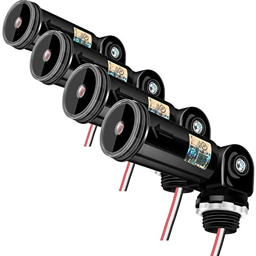 4-Pack, Dusk to Dwan/Day Night Sensor, Photoelectric Switch, Photo Cell Sensor, 110V/120V/220V/240V Input, UL Listed, IP65 Waterproof Photocell for Outdoor Light