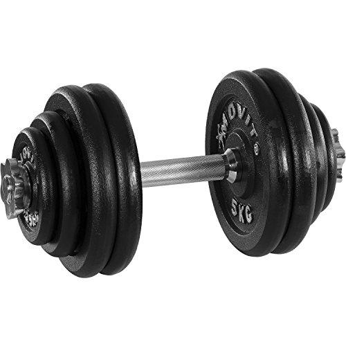 Movit® Kurzhantel PRO Set, Gusseisen Hantel, 1x 30kg, Stange 30mm Standardnorm, Griff gerändelt, Sternverschlüsse, Hantel Set Kurzhantelset Gewichte