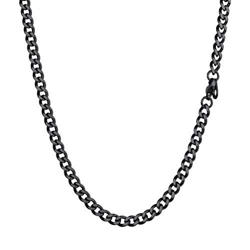 PROSTEEL Herren Kette 51cm schwarz Edelstahl Panzerkette Collier 4,8mm massiv Gliederkette schwer Miami Chain Necklace Trendiger Schmuck Accessoire für Männer Jungen Geschenk zum Geburtstag