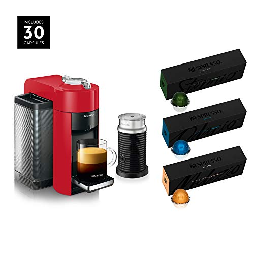 Nespresso Vertuo Coffee and Espresso Machine Bundle by De'Longhi with Aeroccino Milk Frother and BEST SELLING COFFEES INCLUDED