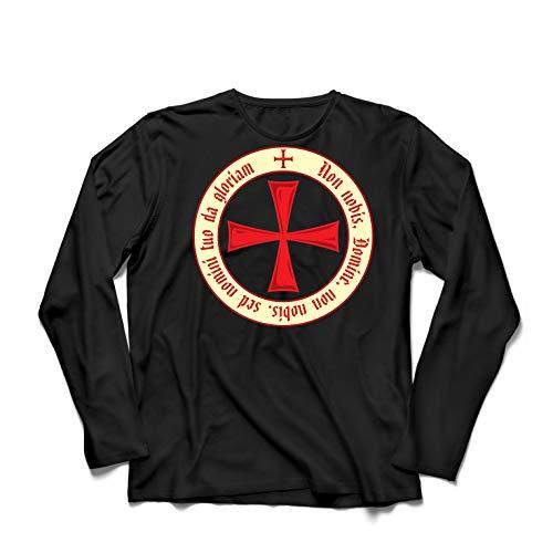 lepni.me Camiseta de Manga Larga para Hombre El Código de los Templarios Orden de Caballero Cristiano, Cruz del Cruzado (X-Large Negro Multicolor)