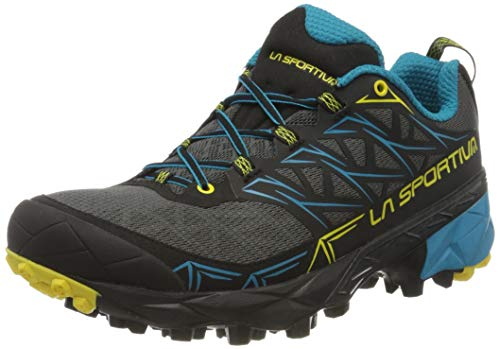 La Sportiva Akyra, Zapatillas de Trail Running Hombre, Multicolor (Carbon/Tropic Blue 000), 43.5 EU