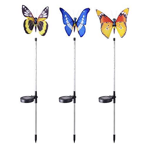 WODT Solar Garden Butterfly Lights Outdoor, 3 Pack Multi-Color Changing LED Decorativo Iluminación de Paisaje para Patio Lawn Yard Pathway