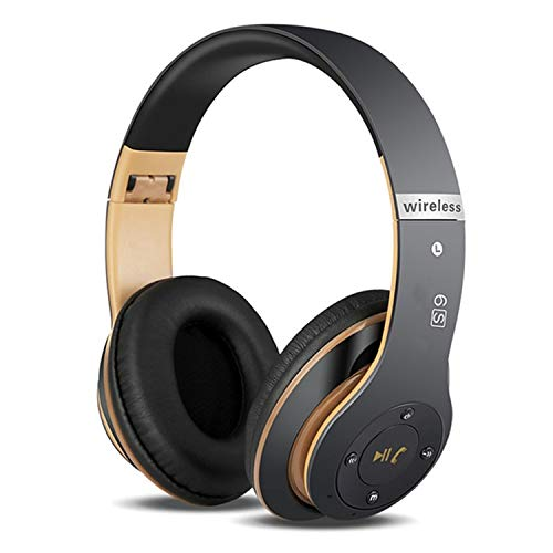 6S Wireless Headphones Over Ear,Hi-Fi Stereo Foldable Wireless Stereo Headsets Earbuds with Built-in Mic,Volume Control, FM for iPhone/Samsung/iPad/PC (Black & Gold)