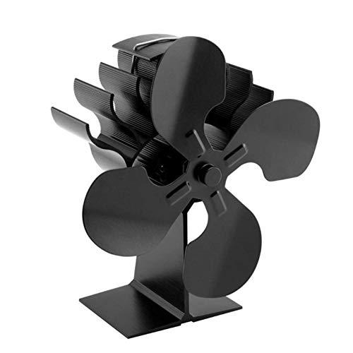 WANGLXST Ofenventilator, umweltfreundlich, geräuscharmer Betrieb, 4 Klingen, wärmebetriebener Kamin-Ventilator für Holzöfen