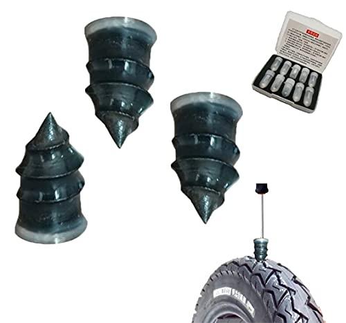 Reparación de neumáticos clavos de goma de reparación de neumáticos en espiral clavos de goma auto motocicleta reparación de neumáticos de goma herramienta rápida de auto-servicio reparación de neumáticos uñas (grande, 40 PCS)